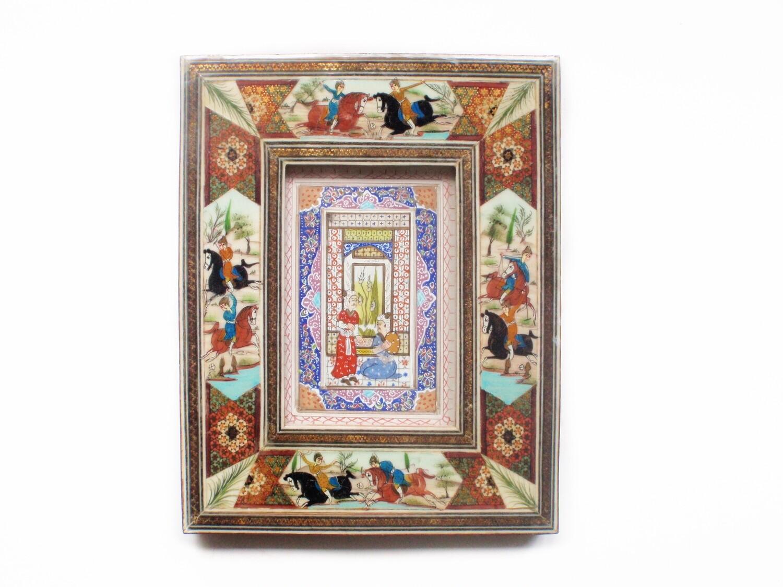 Vintage Persian Khatam Frame Miniature Chogan Painting on Bone