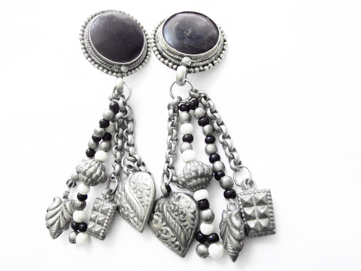 Vintage Obsidian Boho Hippie Clip On Earrings