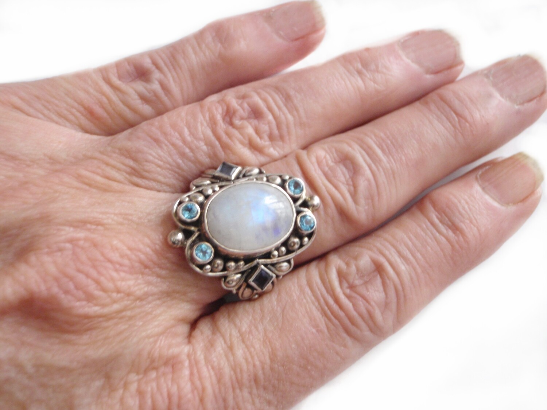 Moonstone Blue Topaz Amethyst Silver Bohemian Statement Ring