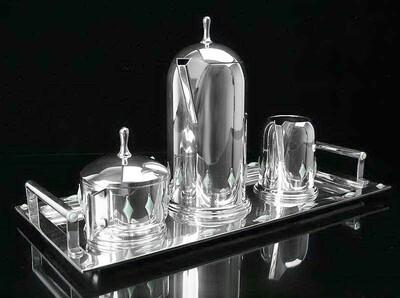 1909 German Secession Jugendstil Silver Enamel 6 pc Coffee Tea Set