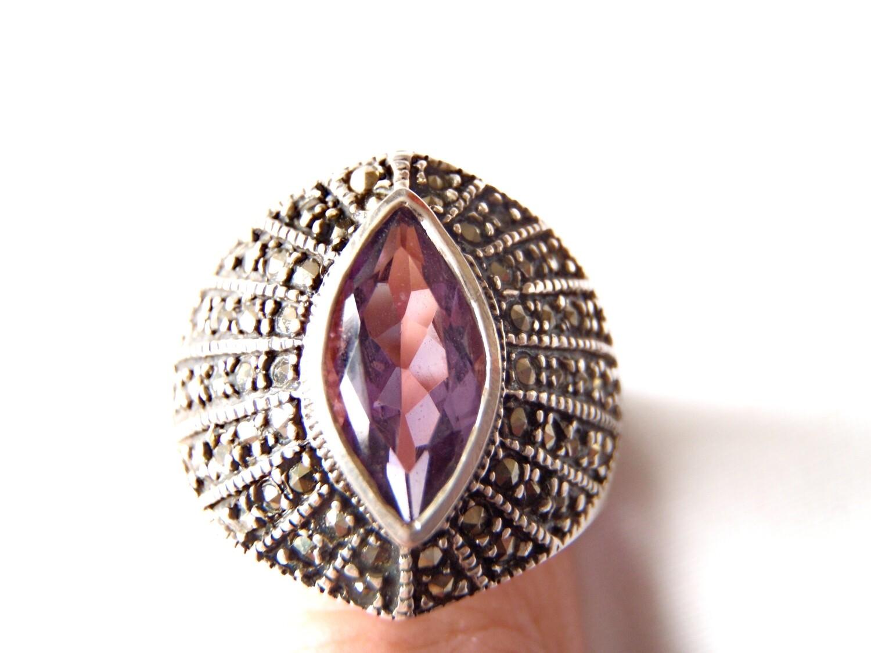 Amethyst Marcasite Silver Ring February Aquarius Birthstone