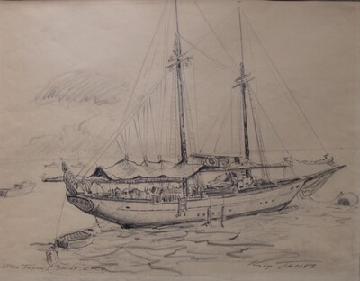 Errol Flynn Yacht Zaca Sketch by Roy James Vintage Sailboat Drawing