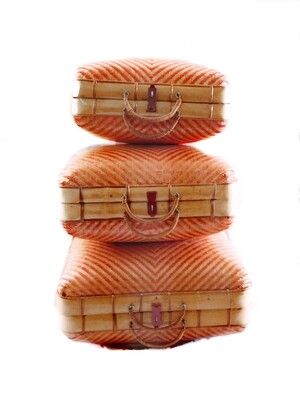 3 Vintage Wicker Bamboo Nesting Suitcases Travel Bags
