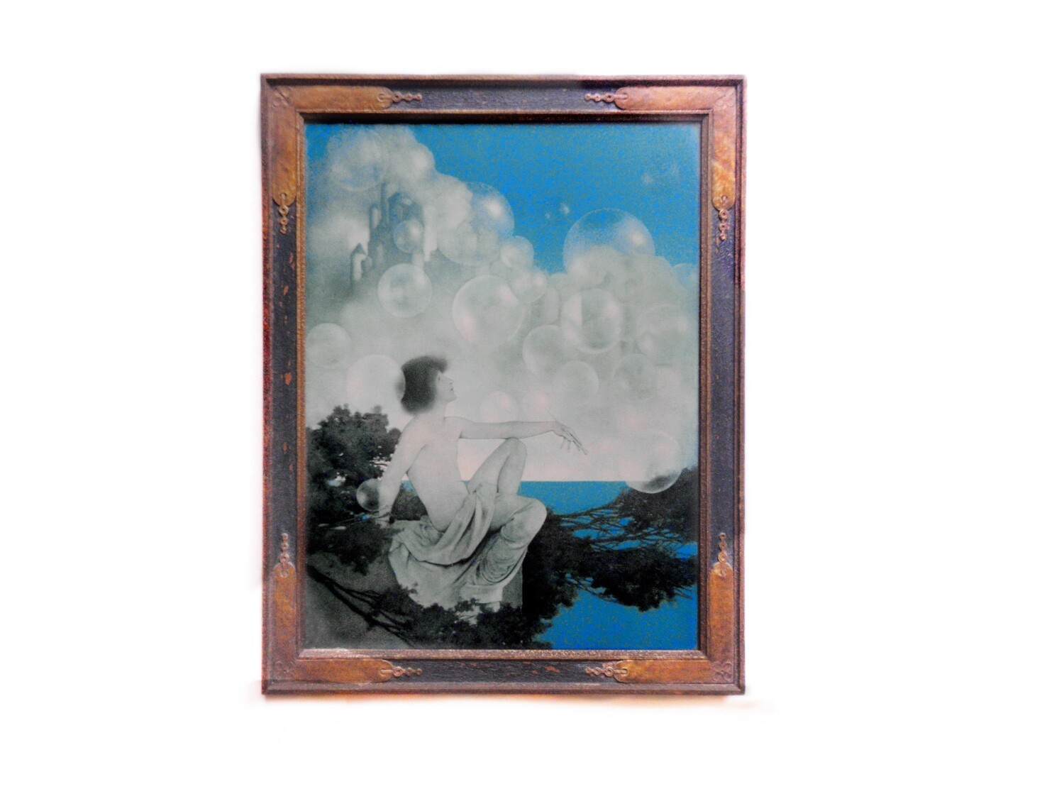 1920s Maxfield Parrish Air Castles in Original Art Deco Frame Fantasy Art