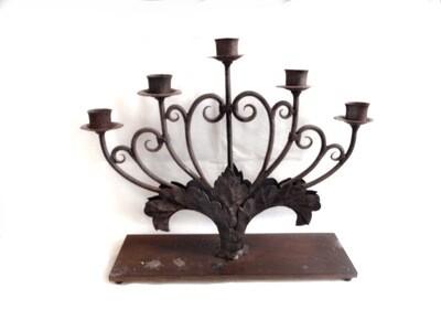 5 Arm Iron Art Nouveau Candelabra Church Candle Holder