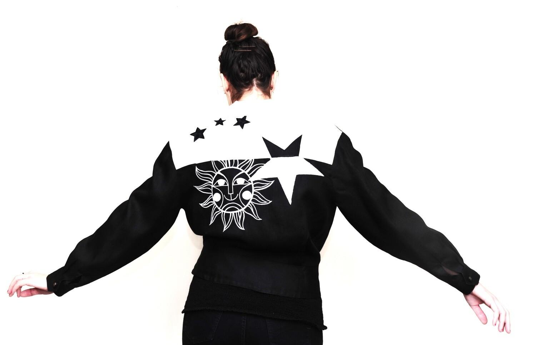 1990's Debbie Shuchat Linen Moon Starts Bomber Jacket