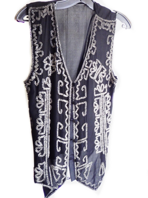 Vintage Boho Silk and Glass Beaded Vest Evening Wear Dress Vest Size S