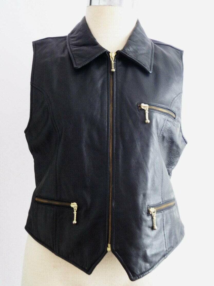 Vintage Black Leather Ladies Vest, Biker Babe Vest, Skinny Jeans Summer, Winter and Fall Sleeveless Vest, Designer Outerwear