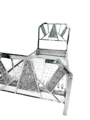 Art Deco French 1930s Chrome Bed Heron Flower Accents