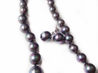 Vintage Black Peacock Pearl Necklace and Earrings Set
