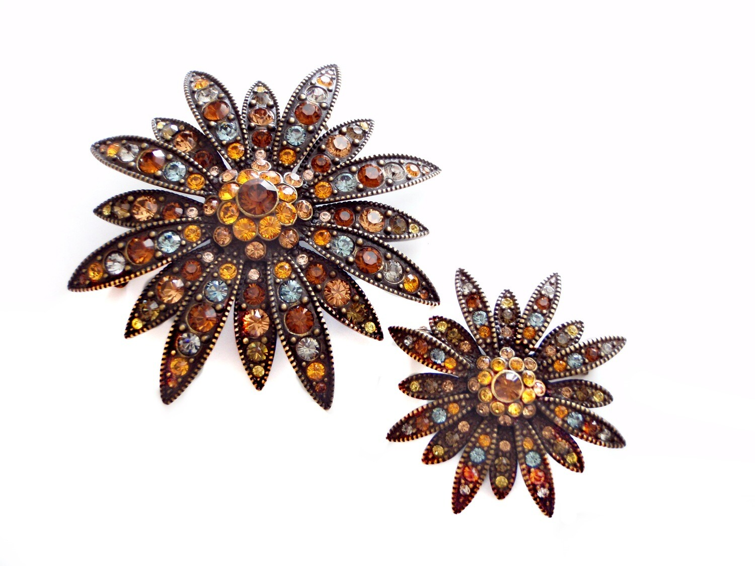 Vintage Set of Two Swarovsky Crystal Brooches
