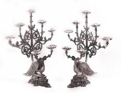 Pair 19th Century Sculptural Phoenix Church Alter Candlesticks Candelabras Silverplated