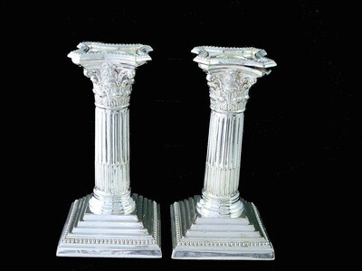 Pair Vintage Silver Plate Corinthian Candlesticks Candle Holders