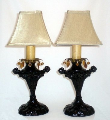 Pair Art Deco 3 Nude Lady Table Lamps Hanging Crystals