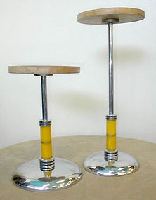 2  Rare Art Deco 1930's Department Store Catalin Bakelite Chrome Display Stands