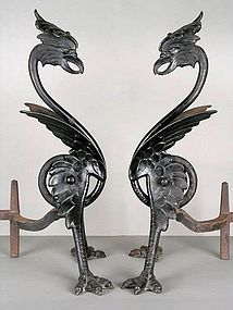 Exceptional Bradley and Hubbard Cast Iron Figural Phoenix Andirons c. 1880 - 90