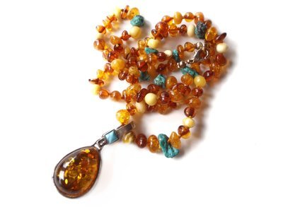 Silver Turquoise and Amber Reversible Pendant Necklace Duo