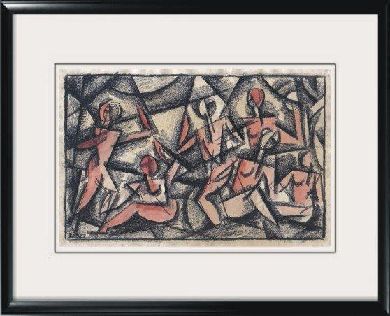 1922 Russian Cubist Painting Signed PL 1922 Original Soviet Art
