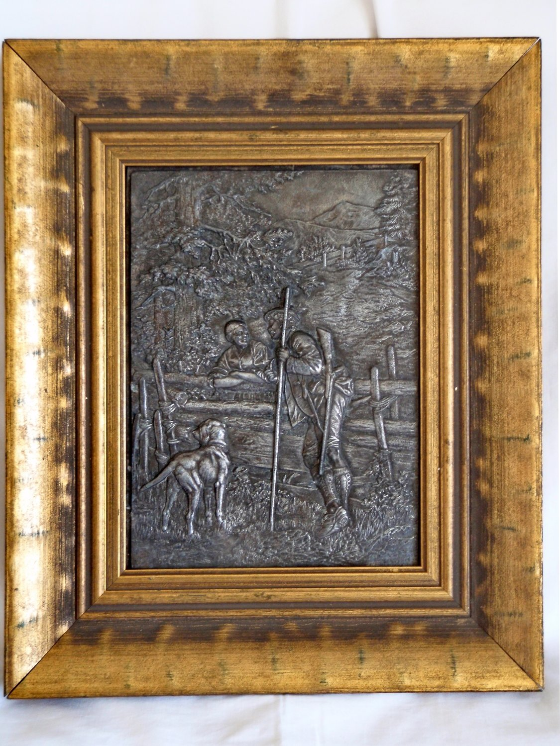 Antique Framed Metal Art Folk Bas Relief Country Life Hunting Germanic