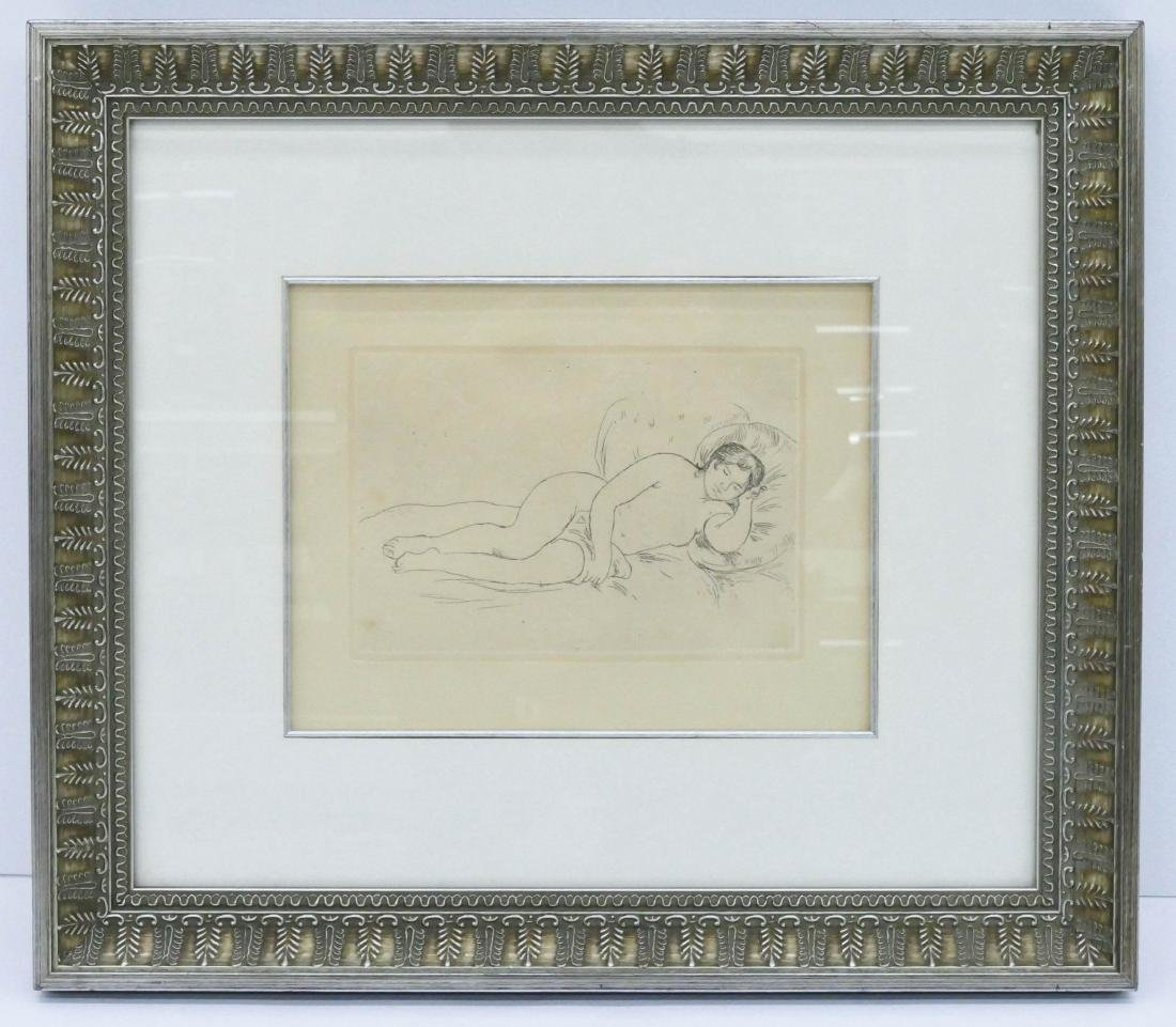 Renoir Etching Femme Nue Couchee 1906 Drypoint Etching Reclining Nude Framed