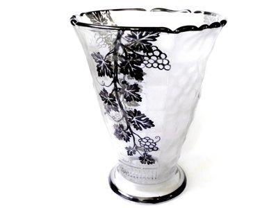 Val St. Lambert Vase Belgian Crystal Sterling Silver Overlay Vase