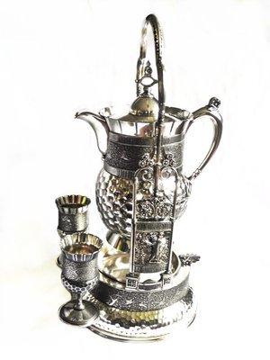 Antique Meriden Silver Tilting Pitcher Porcelain Insulated Coffee Pot
