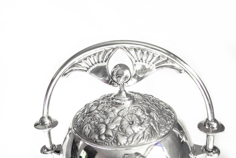 Art Nouveau Meriden Silver Mechanical Butter Dish Repousse Flowers