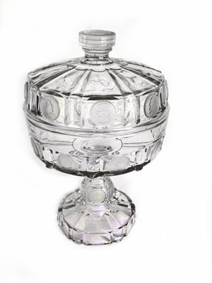 1800's EAPG Covered Pedestal Frosted Dot Cut Glass Compote Footed Bowl