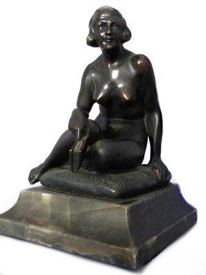 Art Deco 1920 Austrian Bronze Nude T.H. Ullmann Sculpture