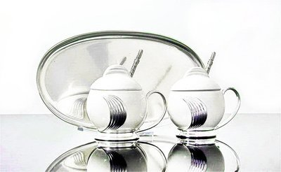 1930's WMF Silver Plated Ceramic Bauhaus Cruet Set Tray