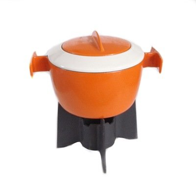 Mid Century Belgian Cast Iron Fire Orange Enamel Fondue Set - Vintage Retro Kitchen