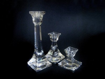 3 Villeroy Boch Lead Crystal Pillar Candlesticks - V & B Lead Crystal Candle Holders