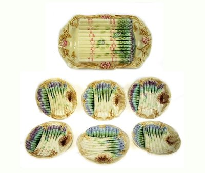 French Majolica Asparagus Server and 6 Plates - Fine Dining and Entertaining