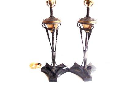 2 Maitland Smith Golf Club Lamps Vintage Golfing Bronze Verdigris Library, Den or Office Lighting