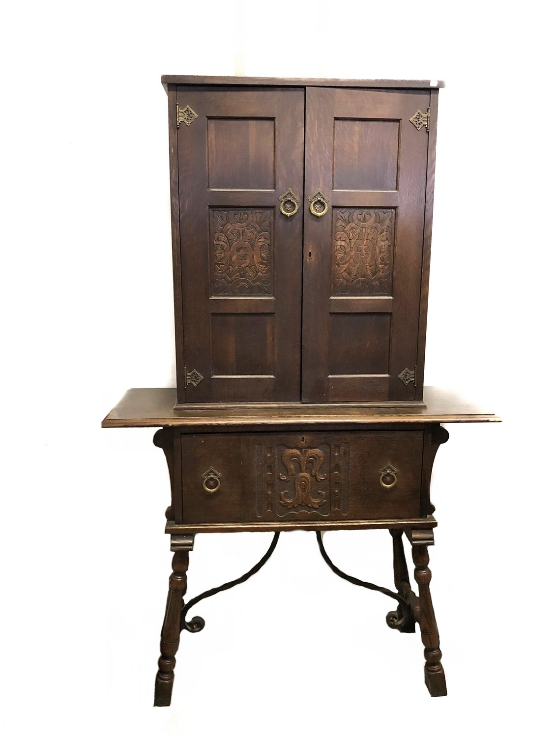 Arts & Crafts Hutch Craftsman Mission Carved Cabinet Hand Wrought Iron
