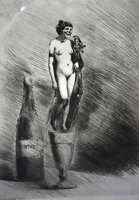 Joseph Apoux Risque Lithograph of Nude Woman Destroyed Absinthe Addiction