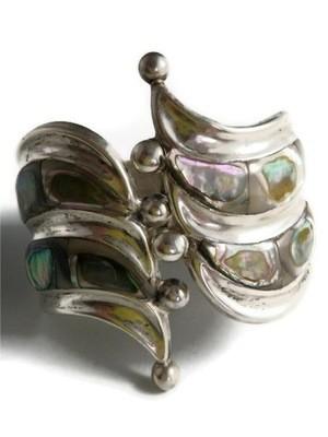 1930s Taxo Balladares Silver Abalone Cuff Clamper Bracelet