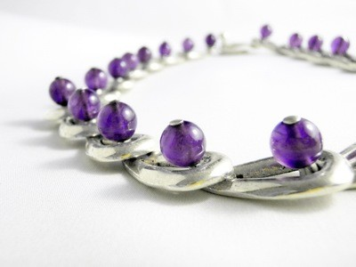 RARE Vintage Taxco Mexico Amethyst Links 950 Sterling Necklace