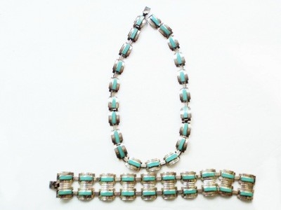 Taxco Mexico Silver Turquoise Necklace Double Wide Bracelet 1940s Sgd Jose