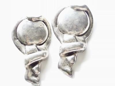 1980s Bat Ami Israeli Silver Designer Earrings Modernist