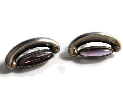 Art Deco Antonio Pineda Sterling and Amethyst Earrings