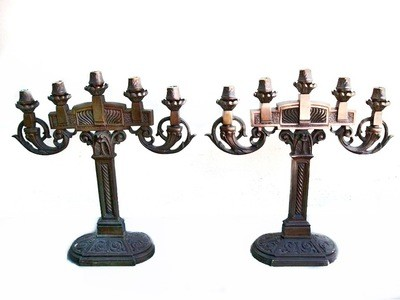 2 Art Deco Solid Bronze Detailed Candelabra Candle Holders