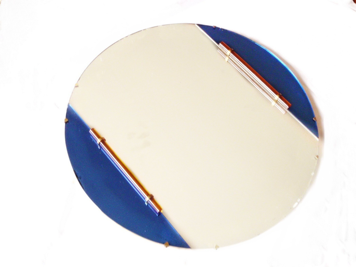 Art Deco Cobalt Blue Glass Mirror, Amber Lucite Wall Mirror