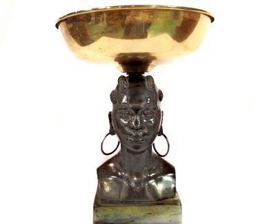 Art Deco African Lady Centerpiece Brass Bowl Geo Trevino Display Sculpture