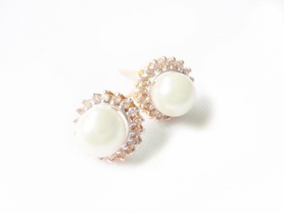 Vintage 14k Gold Cultured Pearl Diamond Earrings Bridal Jewelry