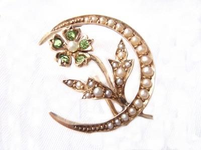Edwardian 14k Peridot Seed Pearl Brooch Peridot Half Moon Pin