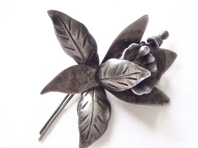 1940s TAXCO Mexico Silver Orchid Brooch Flower Pin