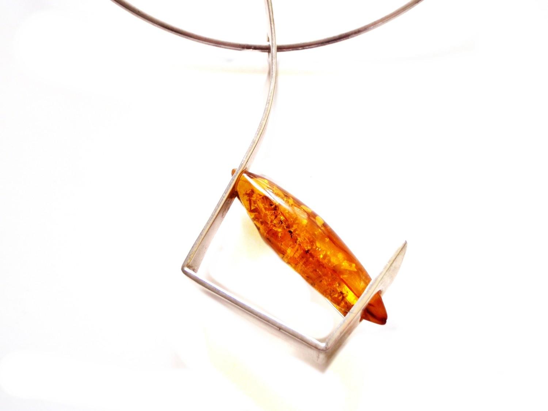 Modernist Vintage Butterscotch Baltic Amber Pendant Wearable Art
