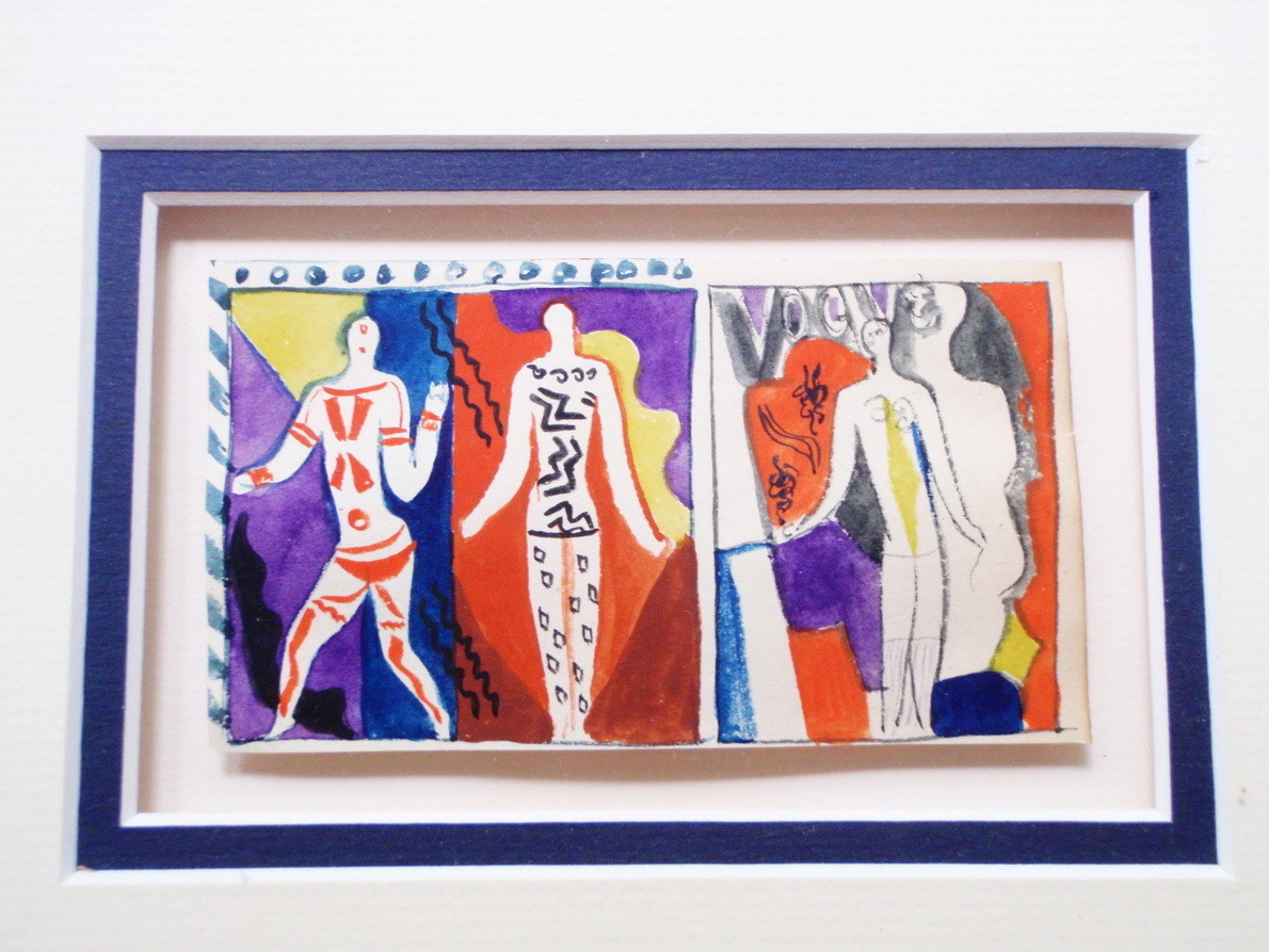 Art Deco 1920s Edward Buk Ulreich Bold Flapper Watercolor Painting