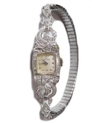 Vintage Lady Hamilton Manual Wind Platinum Diamond Watch
